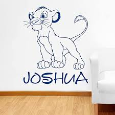 Amazon Com Wall Decals Custom Name Simba Wall Decal Personalized Sticker Lion King Art Disney Decorations For Home Teen Kids Boys Room Bedroom Nursery Decor Made In Usa Kitchen Dining