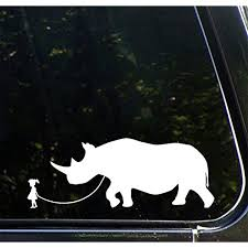 Amazon Com Yadda Yadda Design Co Pet Rhino Girl Walking Rhinoceros Vinyl Car Decal Sticker Yydc 8 5 W X 3 H Face Left White Automotive