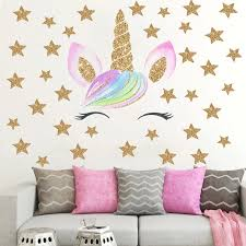 Cute Cartoon Unicorn Wall Stickers For Kids Room Girls Bedroom Home Decor Diy Animal Wallpaper Wall Girls Room Wall Decor Children Room Girl Unicorn Room Decor