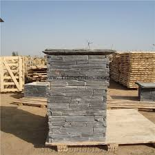 Black Stacked Stone Finish Fence Gate Posts Cement Slate Ledge Stone Veneers Cultured Stone Panels Pillar Slate Stack Stone Xiamen Freedom Stone Co Ltd