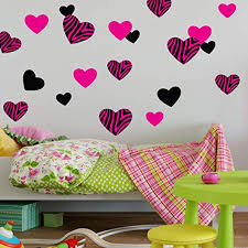 Amazon Com Decal The Walls Zebra Hearts Hot Pink Black Wall Decal Stickers Woven Fabric Home Kitchen