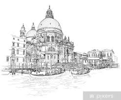Venice Cathedral Of Santa Maria Della Salute Vector Drawing Wall Mural Pixers We Live To Change