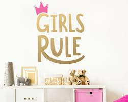 Girls Rule Wall Decal Kids Room Decal Nursery Decal Removable Wall Sticker Vinyl Wall Decal Girls Room Decor Cute Wall Decor