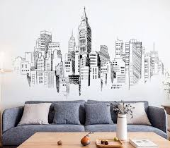 Large Metropolitan Sketch Drawing Pattern Vinyl Wall Sticker Wall Decal Art Decor Sticker Black And White Wall Decals Living Room Decal Wall Art Wall Drawing