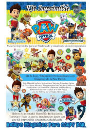 Kit Imprimible Paw Patrol Candy Bar Cumples Y Mas Fiesta 650