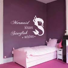 Mermaid Starfish Vinyl Wall Decal Quote Mermaid Kisses Starfish Wishes Baby Girls Room Nursery Wall Decor Gray S Wantitall