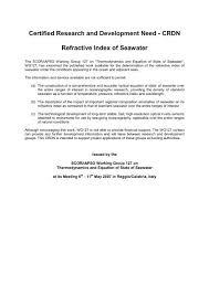 crdn refractive index of seawater