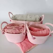3pcs Cotton Rope Storage Basket Dirty Clothes Laundry Storage Pink Basket With Ball Organizer For Kids Toy Magaziner Nursery Storage Baskets Aliexpress
