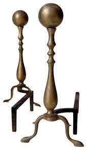 consigned antique brass andirons set