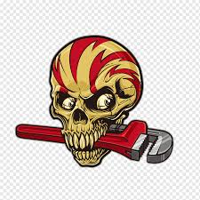 Brown And Red Skull Car Sticker Decal Skull Wrench Horror Skull T Shirt Design Tshirt Template Ink Png Pngwing