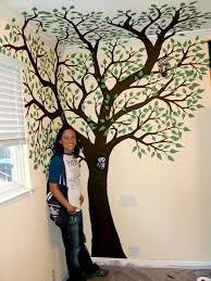 painted tree on a wall custom decor