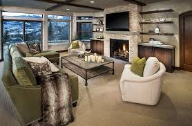 natural stone fireplace with wall mount
