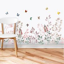 Grass Wall Skirting Line Decals Butterfly Flying Among Flowers Mural Poster Wall Border Decoration Art Graphic Headboard Wall Stickers Baby Room Wall Decals Baby Room Wall Stickers From Magicforwall 5 28 Dhgate Com