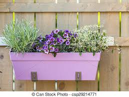 Flower Pot Hanging On Wooden Fence Outdoor Flower Pot Hanging On Wooden Fence For Small Garden Patio Or Terrace