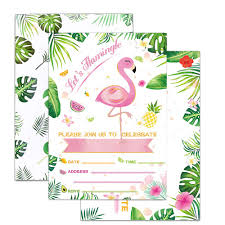 Wernnsai Glitter Flamingo Party Invitations With Envelopes 20
