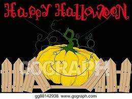 Eps Illustration Pumpkin And Broken Fence Vector Clipart Gg88142938 Gograph
