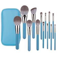 blue makeup brushes set professional