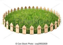 Grassplot Round Island With A Grass Lawn Enclosed By A Wooden Fence Isolated On White Background