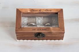 personalized wedding ring box glass
