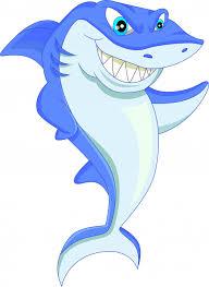 funny shark cartoon premium vector