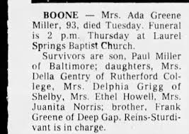 Obituary for Ada Greene Miller (Aged 93) - Newspapers.com