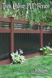 Incredible Rosewood And Black Pvc Vinyl Privacy Fence With Square Lattice Topper From Illusions Vinyl Privacy Fence Designs Vinyl Privacy Fence Backyard Fences