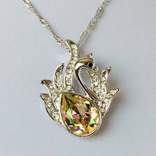 pendant necklace crystal swan