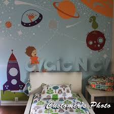Outer Space Theme Wall Decal With Astronaut And Spaceship Evgienev Aiden S Room Space Wall Decals Boys Wall Decals Nursery Wall Decals