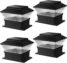 Amazon Com Solar Post Lights Outdoor Garden Fence Waterproof Led Square Black Deck Post Cap Lamp For 4x4 Wooden Posts Or Railing Flat Surface 4 Pack Home Improvement
