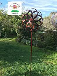 metal art windmill wind spinner garden