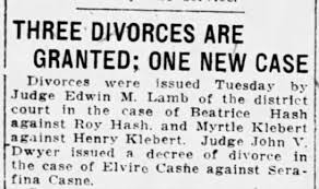 myrtle watson - henry klebert . three divorces are granted . may 1919 -  Newspapers.com