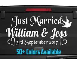 Wedding Car Decor Just Married Car Window Decal Wedding Married Sign
