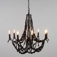 black flat wood bead 8 light chandelier