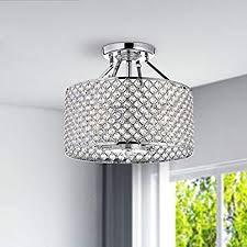 chrome crystal 4 light round ceiling