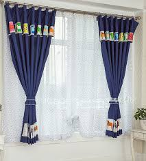 Adorable Dark Blue Animal Patterns Short Bedroom Curtains For Kids