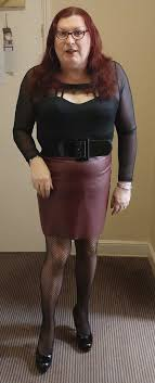 black top red leather skirt outfit a