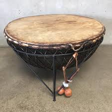african tribal coffee table drum on