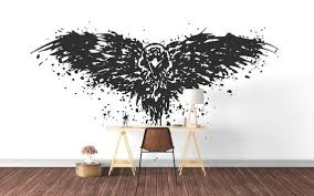 The Crow Stylized Splashing Crow Wall Decal Mystic Animals Collection Birds Bedroom And Living Room Decor Stickers Wild Occult Living Room Decor Stickers Wall Decals Living Room Decor