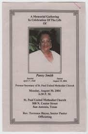 Funeral Program for Pansy Smith, August 30, 2004] - The Portal to ...