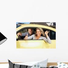Woman Driving A New Car Wall Decal Wallmonkeys Com