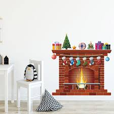 Cartoon Fireplace Wall Stickers Christmas Gifts Sticker For Living Room Kids Room Bedroom Wall Decal Home Decoration Home Decor Wall Stickers Aliexpress