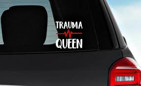 Trauma Queen With Vital Signs Vinyl Decals Nurse Decal Caw Etsy