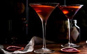 Brandy Manhattan Cocktail with Blood Orange — Recipe Fiction