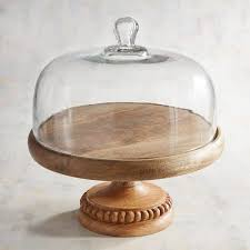 wooden cake stand with dome in 2020