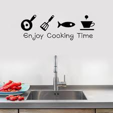 Kitchen Decor Enjoy Cooking Time Black Wall Sticker 8300 Vinyl Decal Home Decoration Kitchen Decoration Home Decorvinyl Decal Aliexpress