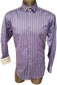 Robert Graham Purple Man Shirt Striped Blue Long Sleeves Large *  Button-down Top Size 14 (L) - Tradesy