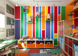 Marvelous Designing Playroom Ideas Kids Midcentury With Track Lights Flor Carpet Tiles Painted Wall Stripes Ikea Kids Storage Open Shelves Accent Play Room