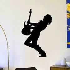 Vinyl Wall Decals Music Guitar Player Silhouette Rock Star Decal Sticker Home Wall Decor Art Mural Z729 Amazon Co Vinyl Wall Decals Wall Decals Star Decals
