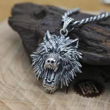 925 silver wolf head pendant vintage
