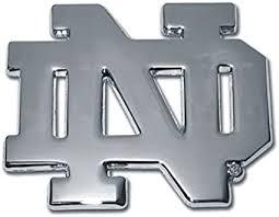 Amazon Com Notre Dame Nd Chrome Metal Auto Emblem By Elektroplate Sports Outdoors